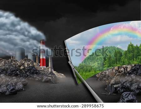 Cleaning the environment and global warming environmental concept as a scene with pollution being wiped with a wiper revealing a clean green natural landscape as a symbol for conservation. - stock photo