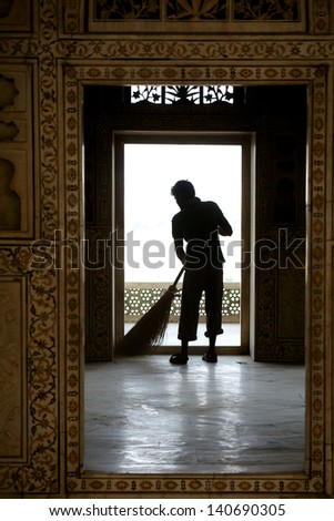 Cleaning the Palace Agra - stock photo