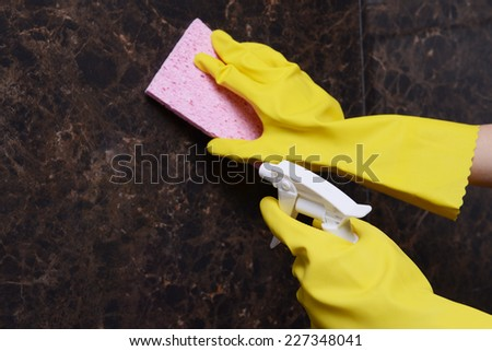 Cleaning tiles close-up
