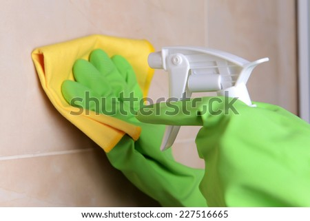 Cleaning tiles close-up - stock photo