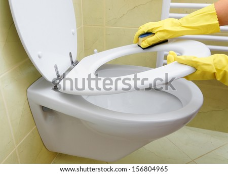 cleaning toilet - stock photo