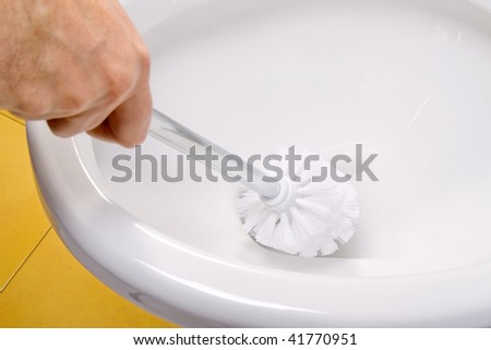 cleaning toilet bowl - stock photo
