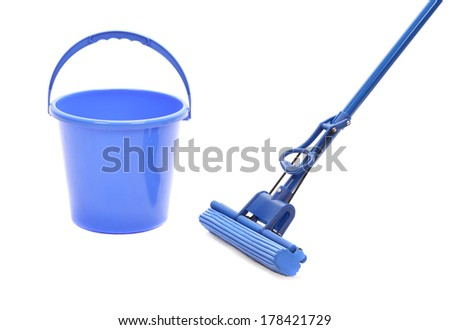 Cleaning tools. Isolated on a white background. - stock photo