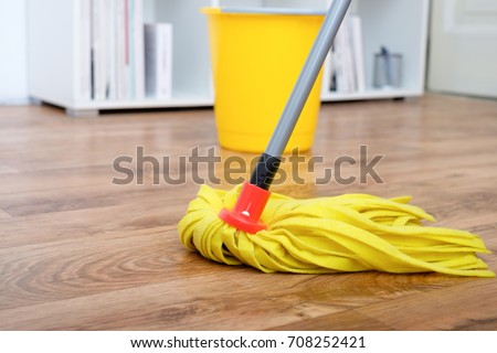 Cleaning tools on parquet floor