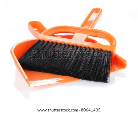 cleaning tools on white background - stock photo