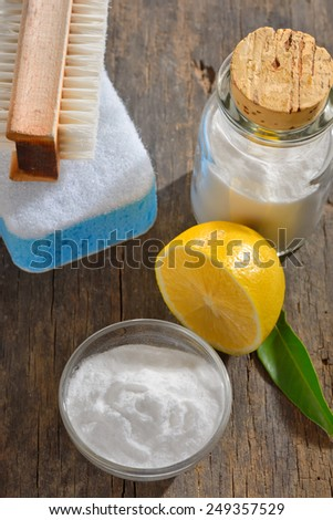 cleaning tools with lemon and sodium bicarbonate - stock photo