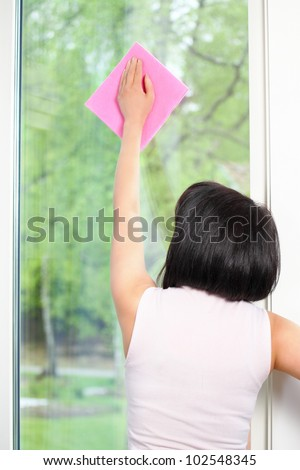 Cleaning window rear view of housekeeping woman - stock photo