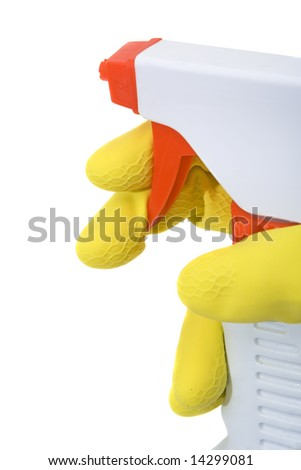 cleaning with a sprayer bottle isolated against white background