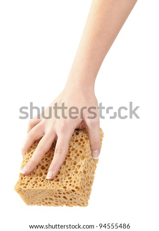 Cleaning with sponge - stock photo