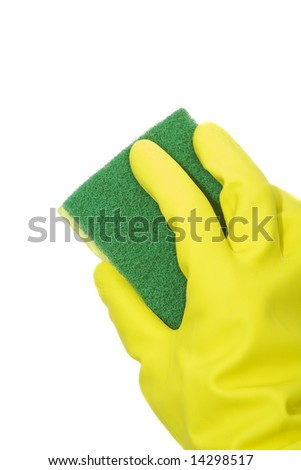 cleaning with sponge isolated against white background