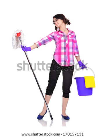 Cleaning woman dancing with mop - stock photo