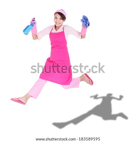 Cleaning woman housewife jumping happy excited isolated on white background. asian - stock photo