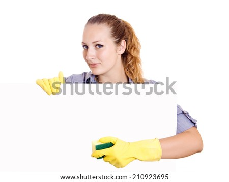 Cleaning woman showing sign poster cleaning on white background. Smiling happy caucasian cleaning lady. - stock photo