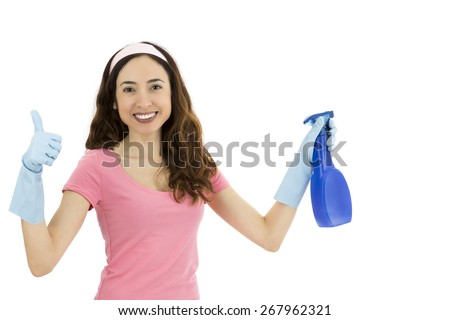 Cleaning woman showing thumbs up - stock photo