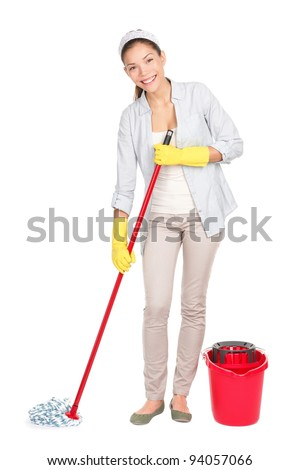 Cleaning woman washing floor with mop and bucket during spring cleaning. Multicultural Chinese Asian / white Caucasian housewife isolated on white in full length.