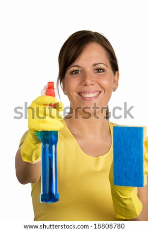 cleaning woman with cleanser - stock photo