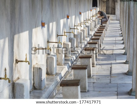 cleanliness in the The Blue Mosque, Unesco World Heritage Site, Istanbul, Turkey