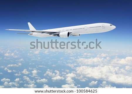 Clear aircraft in blue sky - stock photo