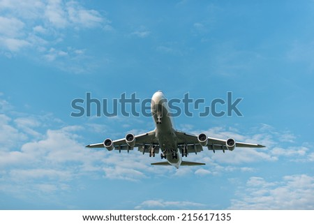 Clear airplane in the sky - Passenger Airliner / aircraft - stock photo