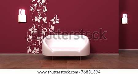 Clear and simple modern room interior with white sofa furniture. Empty wall to paste any frame picture there or to use as background. - stock photo