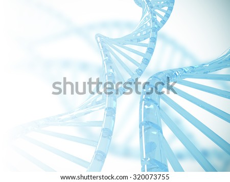Clear blue Dna structure with blurry background, 3D illustration. - stock photo