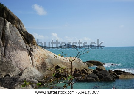 clear  blue  sea  and  beautiful  scenic  with  sea  stone  and   mountain  along way  in  the sea  of  Thailand.