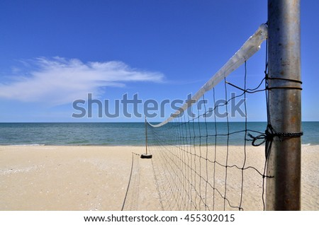 Clear Blue Sky and Sunny on the beach. Volleyball Net all activity on the beach with sunny day, clear and blue sky, sea and white sand.