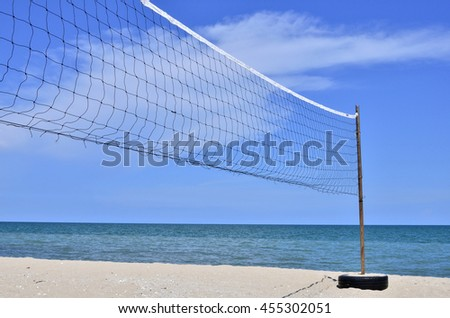 Clear Blue Sky and Sunny on the beach. Volleyball Net all activity on the beach with sunny day, clear and blue sky, sea and white sand. - stock photo