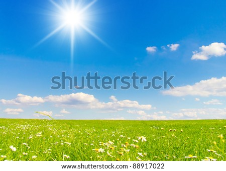 Clear Blue Sky Sun in the Sky - stock photo