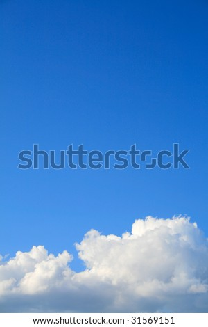 Clear blue sky with cloud - stock photo