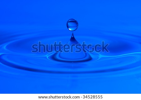 clear blue water and clear blue water drop - stock photo