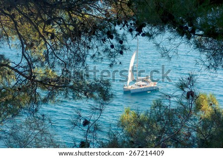Clear blue water in the calanque of Cassis, Mediterranean France - stock photo