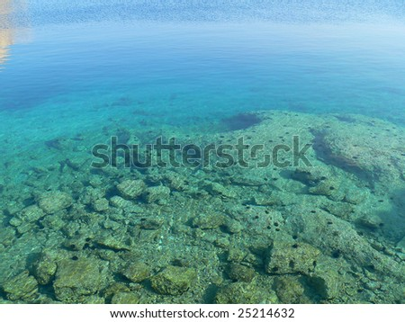 clear blue water with showing the sea floor with rocks and urchins