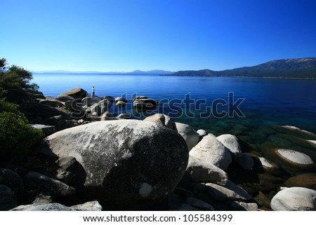 Clear blue waters of Lake Tahoe in California - stock photo