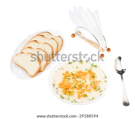 Clear Chicken Broth with Sliced Bread isolated over white. Bon appetit! - stock photo