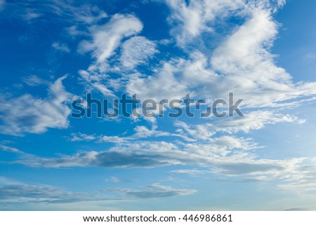 Clear clouds in blue sky on day light in Bangkok city Thailand of Asia.