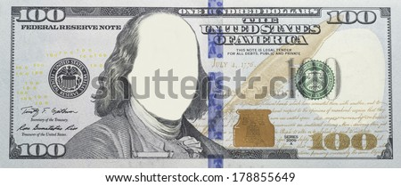 Clear $100 dollar bill banknote