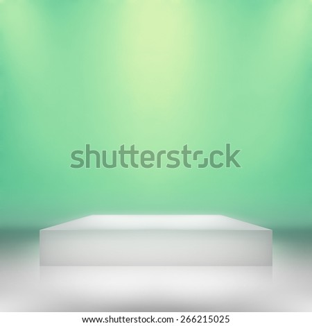 Clear empty photographer studio background with stand. - stock photo