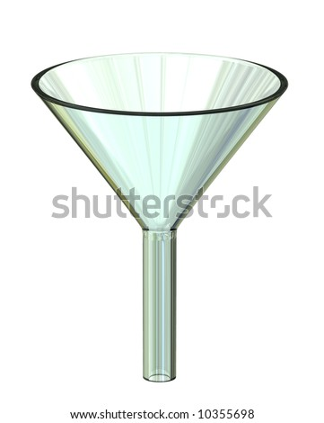 Clear Glass Filter Funnel on bright white background - stock photo