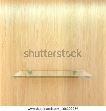 clear glass shelf on wooden wall, high resolution 3d render - stock photo