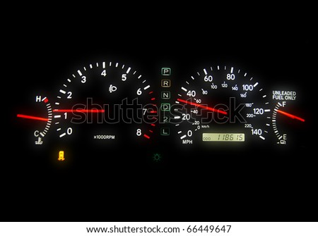 Clear glowing speedometers in a car. Panoramic. - stock photo