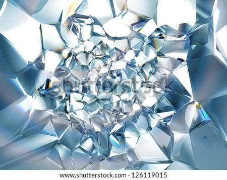 clear ice blue crystal background - stock photo