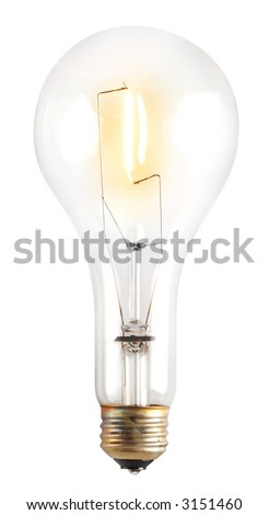 Clear illuminated light bulb isolated on white with clipping path
