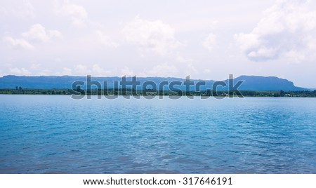 clear lake landscape - stock photo