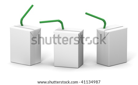 Clear milk or juice 200 ml package model with a green straw for design preview - stock photo