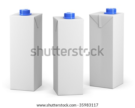 Clear milk or juice package model with a blue cap - stock photo
