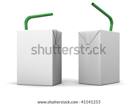 Clear milk or juice package model with a green straw for design preview - stock photo