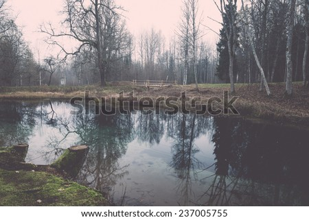 clear morning by small lake with reflections in latvia - retro, vintage style look - stock photo