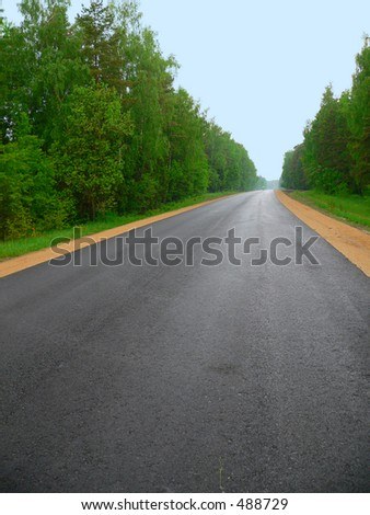 Clear new road through wood - stock photo