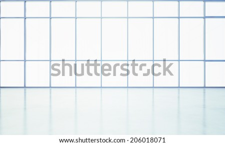 Clear open plan interior with large windows - stock photo